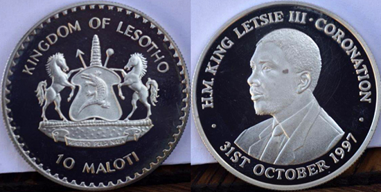 Lesotho 10 maloti 1997 - Coronation of King Letsie III