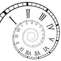 spiral of a clock with roman numerals