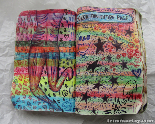 Wreck this Journal - Color this entire page with skeletons, skulls and stars