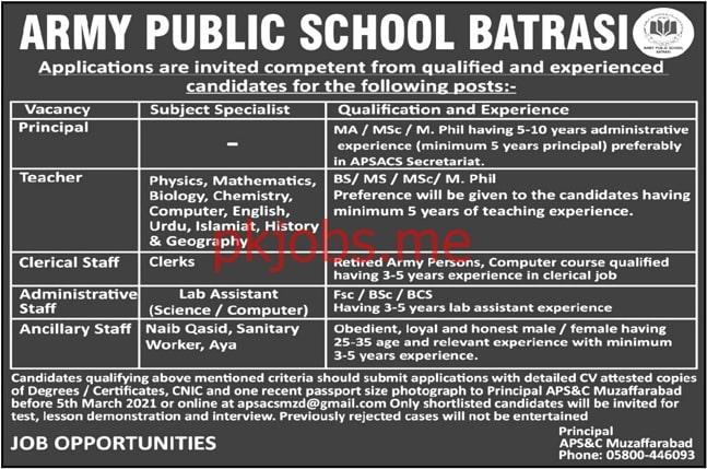 Latest Army Public School Posts 2021