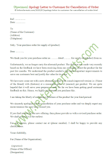 apology letter to customer for cancellation of order