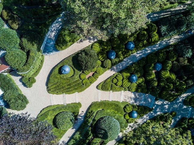 A strange garden with a series of human face rocks