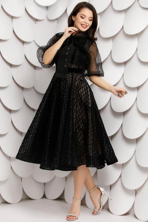 Rochie neagra din organza cu catifea cu funda maxi de ocazii speciale