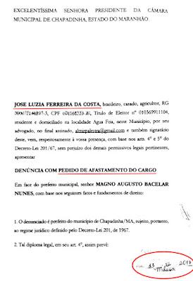Pedido de impeachment do prefeito de Chapadinha - Início