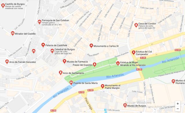 Mapa de los principales monumentos de la ciudad de Burgos