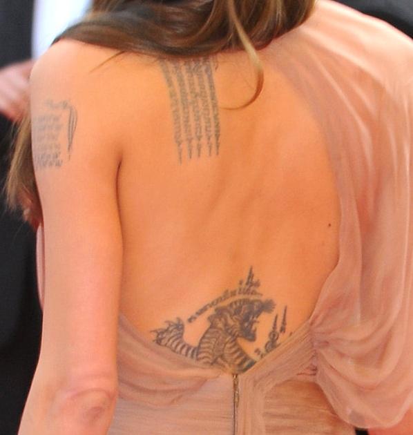 Angelina Jolie Tattoo On Back