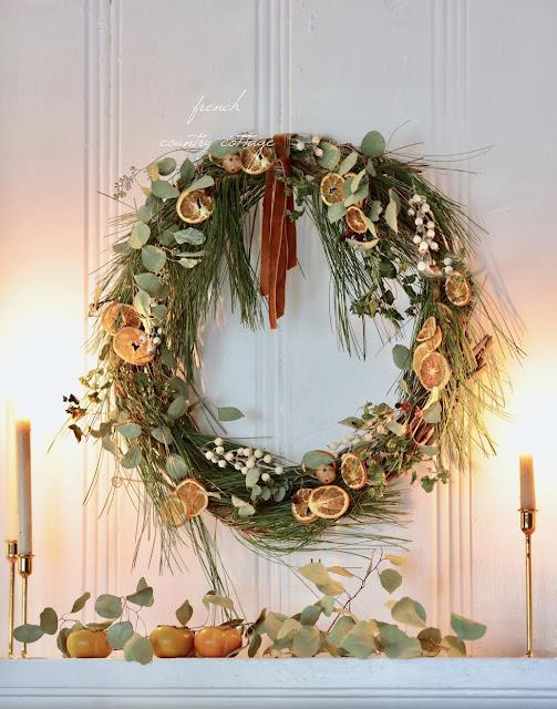 20 Minute DIY Fresh Greens & Orange Holiday Wreath