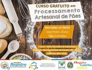 Assistência Social de Registro-SP oferece curso de Processamento Artesanal de Pães