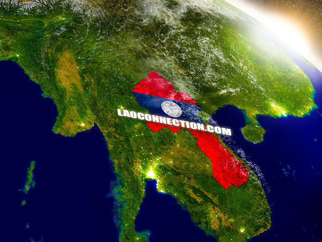 Satellite image of Laos as seen from outer space.  ປະເທດລາວເຫັນຈາກທ້ອງຟ້າ