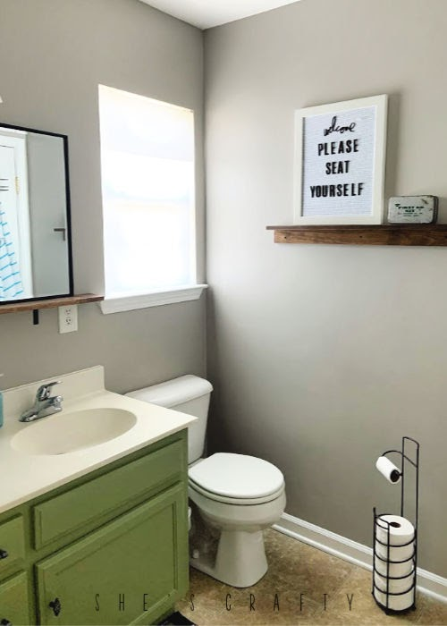 Bathroom Makeover on a budget  |  paint bathroom cabinets Brisk Olive by Valspar, paint walls with leftover paint