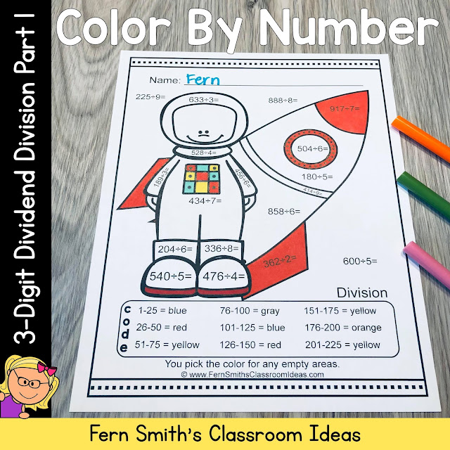 Color By Number 3-Digit Dividend by 1-Digit Divisor Division Part 1 Careers Themed Resource