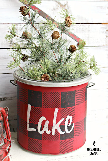Old Sign Stencils Christmas Buffalo Check Minnow Bucket www.organizedclutter.net