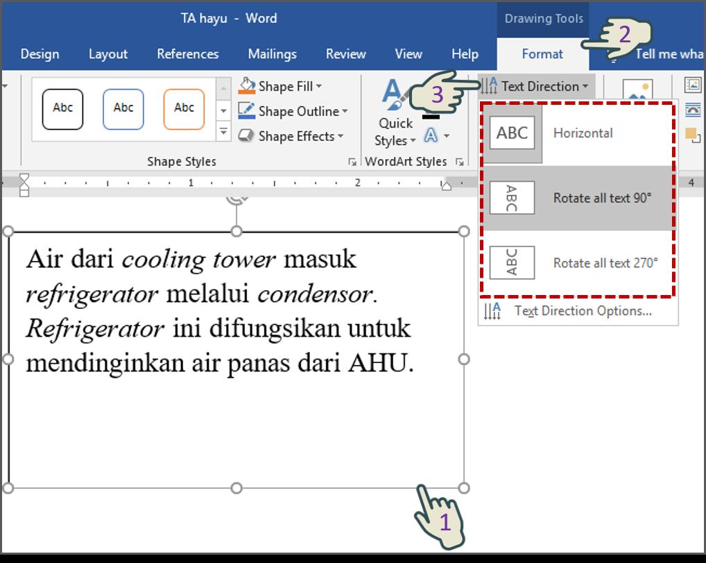Mengubah Arah Teks Dalam Text Box