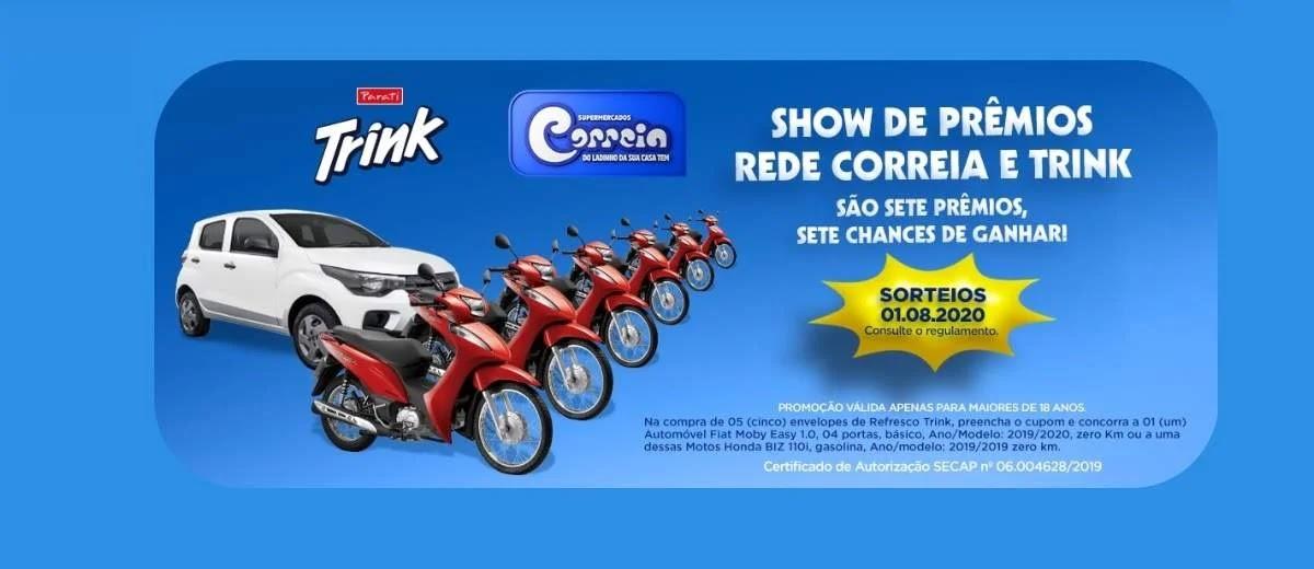 Promoção Correia Supermercados 2020 Show de Prêmios Carro e Motos - Trink Parati