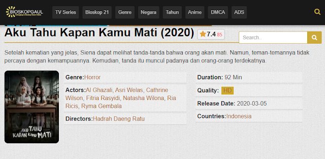 Nonton Film Aku Tahu Kapan Kamu Mati (2020) Subtitle Indonesia Full Movie