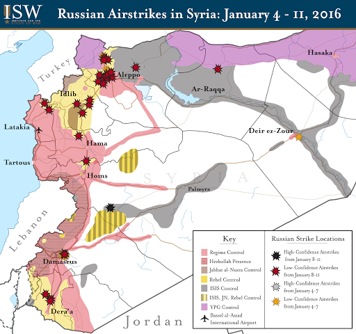Russian Airstrikes in Syria: January 4 - 11, 2016