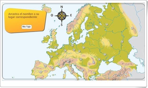 """""""El relieve y los ríos de Europa"""" (Actividad interactiva de Geografía)"""