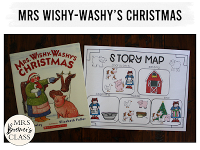 Mrs Wishy Washy's Christmas book study literacy unit with Common Core aligned companion activities and a craftivity for K-1