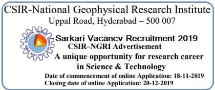 Scientist Vacancy Recruitment in NGRI Hyderabad 2019