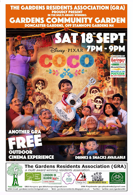 Free film screening in the Community Garden - see Coco on Saturday 18th September 7 - 9 PM