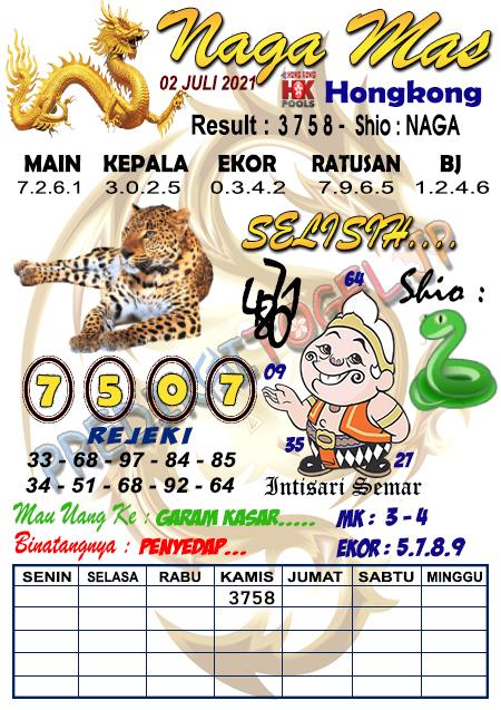 Syair Nagamas HK Jumat 02 Juli 2021