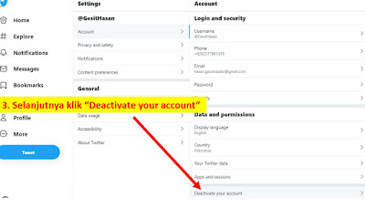 3. Cara Menghapus Akun Twitter - dekstop