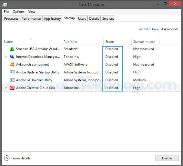 Dilanjutkan lagi dengan mengklik menu Startup disebelahnya, kemudian klik Open Task Manager → Disable semua layanan yang tersedia → OK.