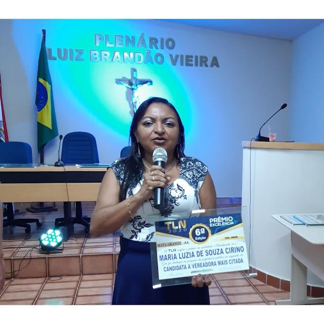 Prêmio Excelência é conferido a Luzia de Caica como candidata a vereadora mais citada