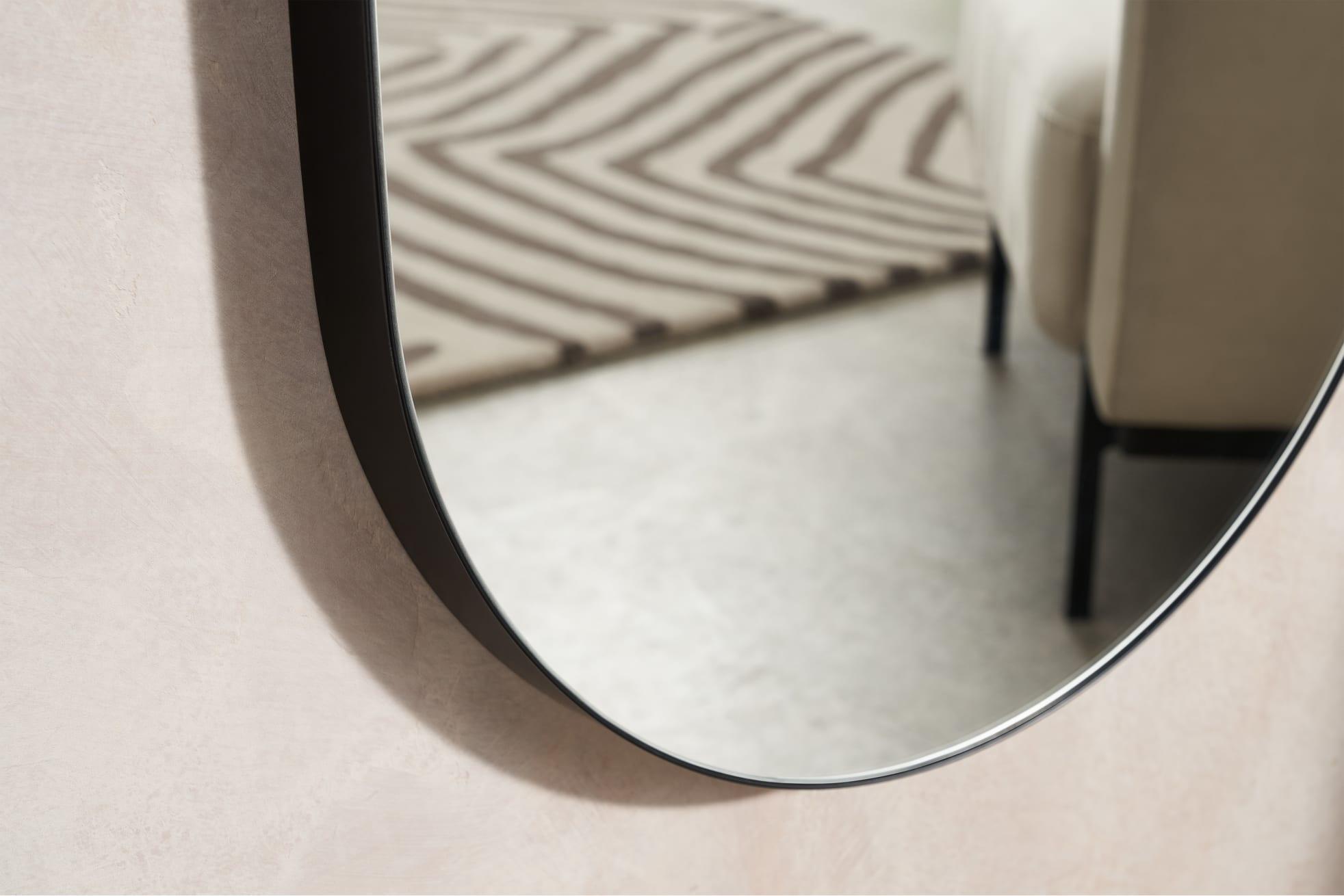 lustro łazienkowe owalne czarne