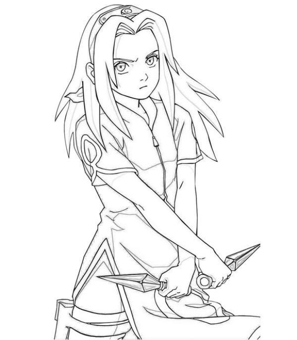Mewarnai Gambar Haruno Sakura Dalam Serial Anime Naruto
