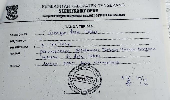 Surat Aduan Warga Desa Tobat ke DPRD Kabupaten Tangerang Diduga Diabaikan