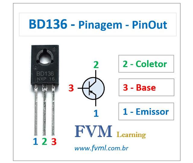 Pinagem - Pinout - Transistor - PNP - BD136 - Características