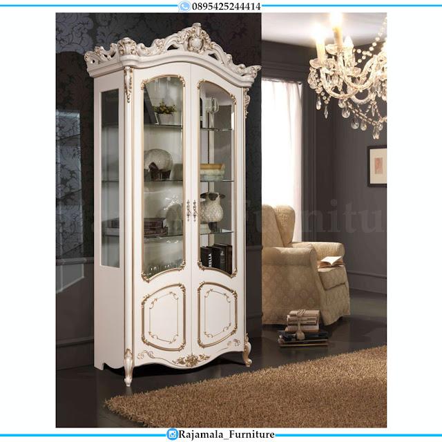 Lemari Hias Minimalis Putih Duco Luxury Design New Mebel Jepara RM-0323