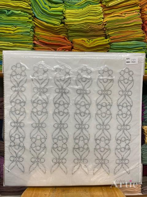 Sticker hotfix rhinestone DMC 6 jalur aplikasi tudung, bawal & fabrik pakaian motif islamik segi enam seamless