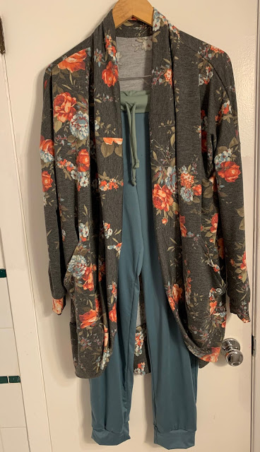 I made the cardigan (Cozy cardigan from Patterns for Pirates) and joggers (previously reviewed pattern) from the monthly box. I didn't have quite enough fabric for the waist band so I used some DBL that I had from a mystery bundle I also got from Watertower that month