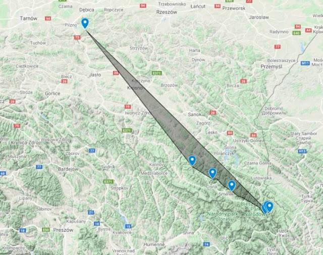 Bieszczady z Gębiczyny Mapka Google z kierunkiem obserwaci.