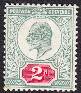 Edward VII 2d Dull Blue Green & Carmine Hendon Variety