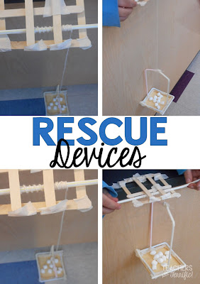 "STEM Challenge: Two groups, same materials, different structures that must be joined! Their task was to design a rescue device and a rescue container. The rule for the rescue device was that it had to mounted on the side of a ""cliff"" and able to be operated by someone standing on the cliff."