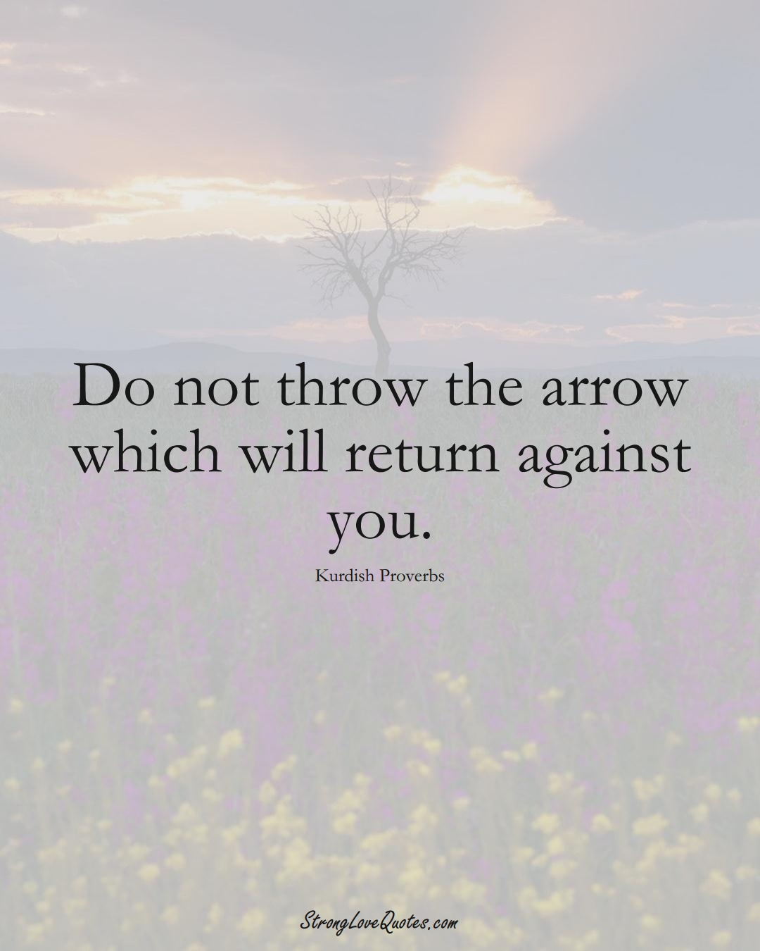 Do not throw the arrow which will return against you. (Kurdish Sayings);  #aVarietyofCulturesSayings