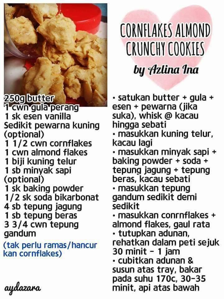 resepi cornflakes almond