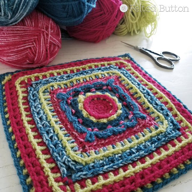 Rinske Square   free crochet pattern by Susan Carlson of Felted Button -- Colorful Crochet Patterns made with Scheepjes Colour Crafter