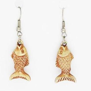 Plastic fish earrings