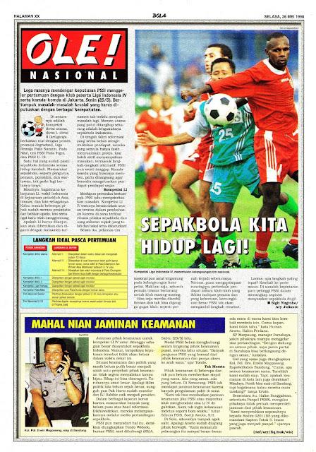 NASIONAL 1998 SEPAKBOLA INDONESIA HIDUP LAGI