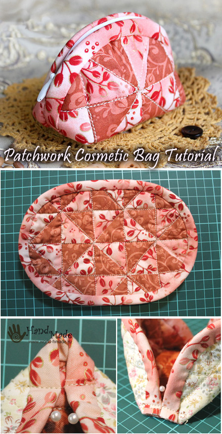 Makeup Cosmetic Bag Patchwork. How to make DIY tutorial