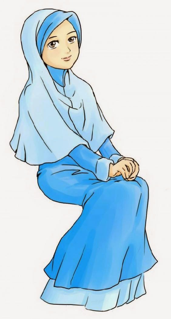 Kumpulan Gambar Kartun Cantik Jilbab Biru