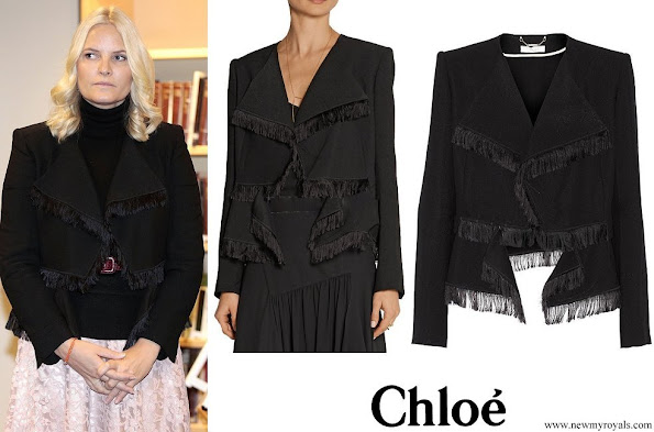 Crown Princess Mette-Marit wore CHLOE Fringed jacquard jacket