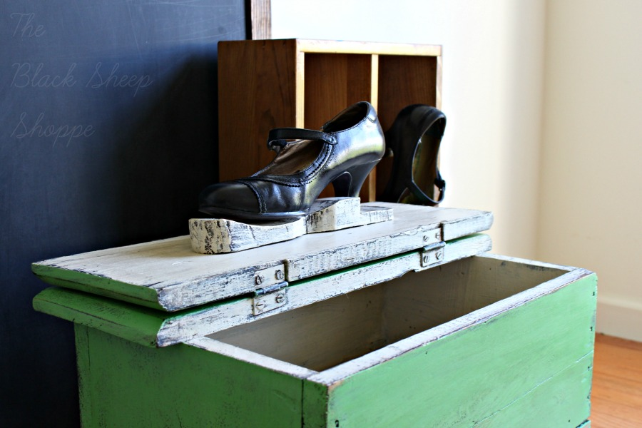 Ladies black shoe on top of shoe shine box.