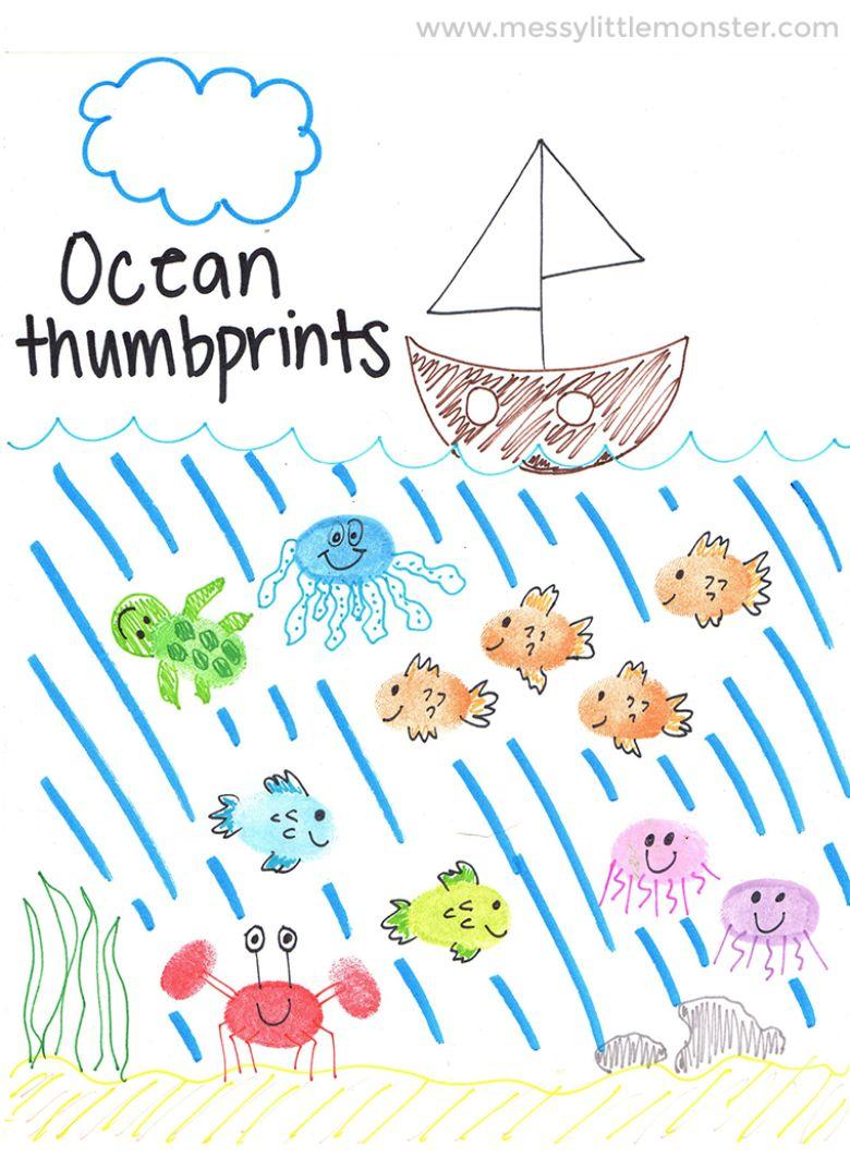 ocean animal thumbprint under the sea craft