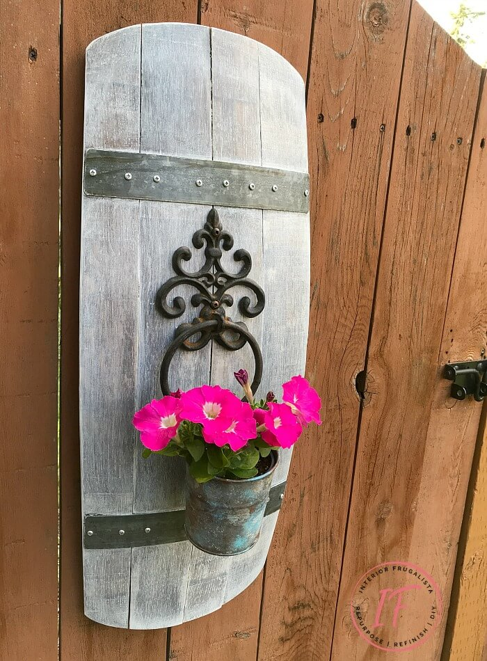 Barrel Stave Door Knocker Flower Pot Holder