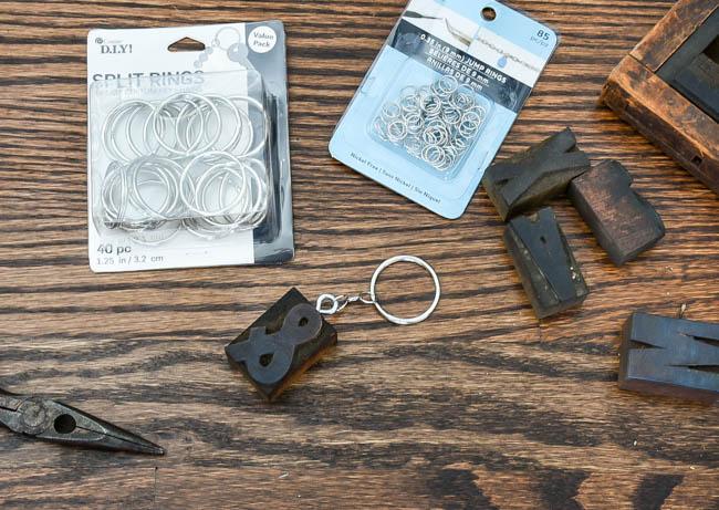 Adding split ring to letterpress keychains